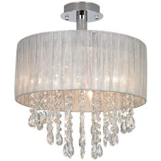 Possini Euro Jolie Sheer Silver Shade Crystal Ceiling Light