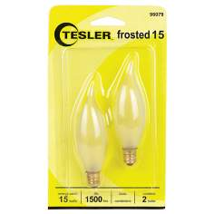 Tesler 15 Watt 2-Pack Frosted Bent Tip Candelabra Bulbs