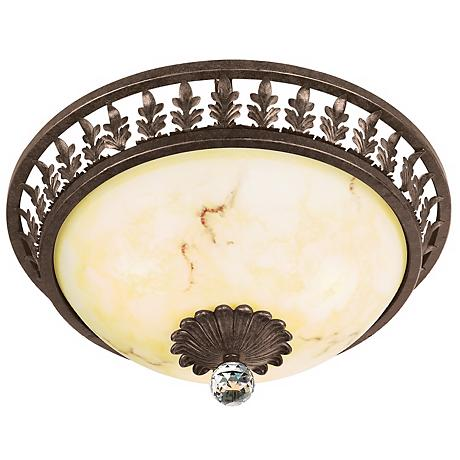 "Crest Leaf and Crystal Accent 16 1/2"" Wide Ceiling Light"