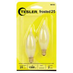 Tesler 25 Watt 2-Pack Frosted Bent Tip Candelabra Bulbs