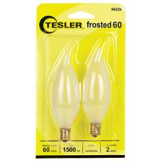 Tesler 60 Watt 2-Pack Frosted Bent Tip Candelabra Bulbs