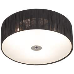 "Possini Euro Sheer Black Fabric 16"" Wide Ceiling Fixture"