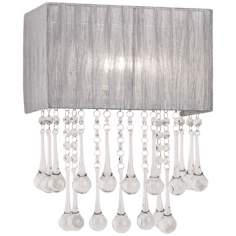 "Possini Euro Silver and Crystal 14"" High Wall Sconce"