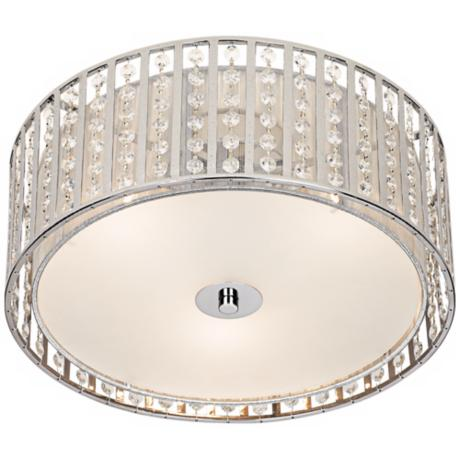 Possini Chrome and Crystal Strands Flushmount Ceiling Light