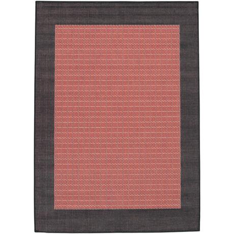 Checkered Field Terracotta-Black Area Rug