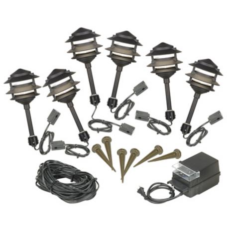 Six Light Pagoda Black Low Voltage Landscape Light Kit