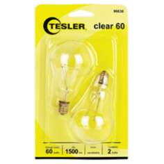 Tesler 60 Watt 2-Pack Clear Ceiling Fan Candelabra Bulbs
