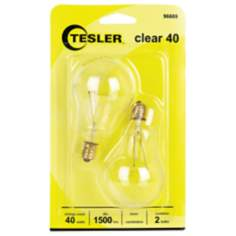 Tesler 40 Watt 2-Pack Clear Ceiling Fan Candelabra Bulbs
