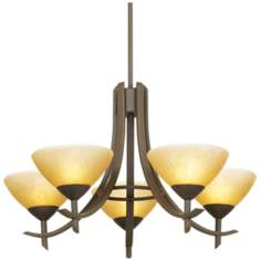 "Olympia Bronze 27"" Wide 5-Light Chandelier"