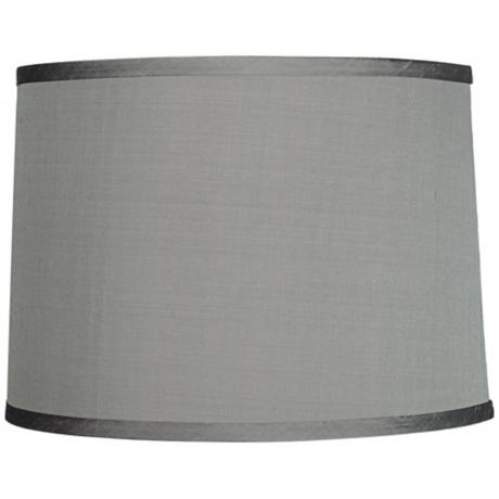 Platinum Gray Dupioni Silk Lamp Shade 13x14x10 (Spider)