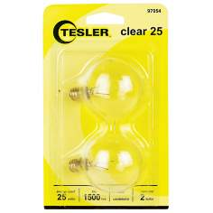 Tesler 25 Watt 2-Pack G16 1/2 Clear Candelabra Light Bulbs
