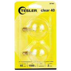Tesler 40 Watt 2-Pack G16 1/2 Clear Candelabra Light Bulbs