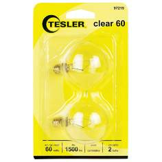 Tesler 60 Watt 2-Pack G16 1/2 Clear Candelabra Light Bulbs