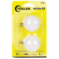 Tesler 40 Watt 2-Pack G16 1/2 White Candelabra Light Bulbs