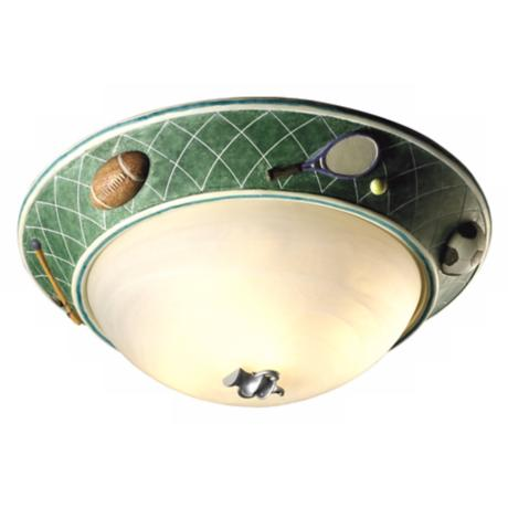 "Glow-in-the-Dark Sports 17"" Wide Ceiling Light Fixture"