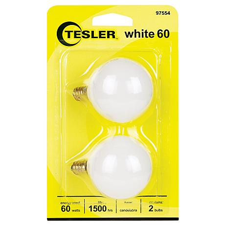 Tesler 60 Watt 2-Pack G16 1/2 White Candelabra Light Bulbs