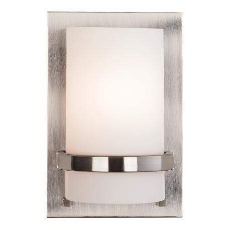 "Brushed Nickel With Etched Opal 10"" High Wall Sconce"