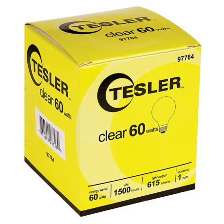 Tesler 60 Watt G25 Clear Glass Light Bulb