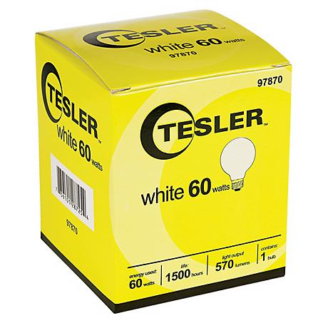 Tesler 60 Watt G25 White Glass Light Bulb