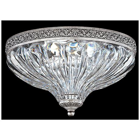 "Schonbek Milano 10"" Wide Roman Silver Crystal Ceiling Light"