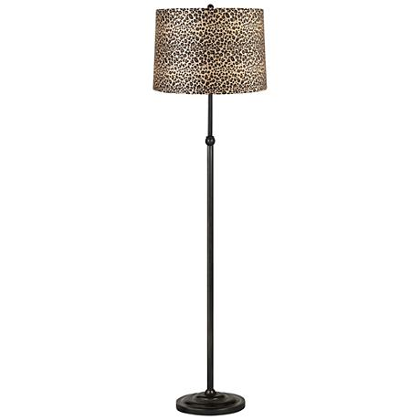 Leopard Print Shade Bronze Adjustable Floor Lamp