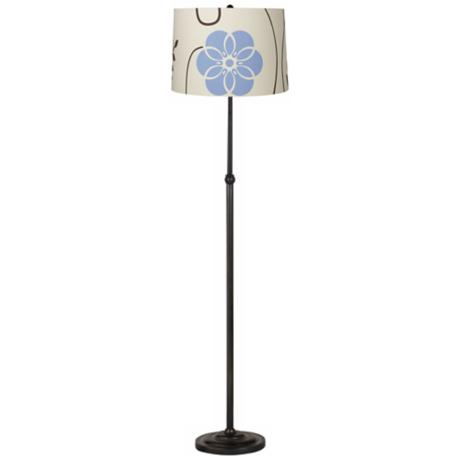 Blue Floral Bronze Adjustable Floor Lamp
