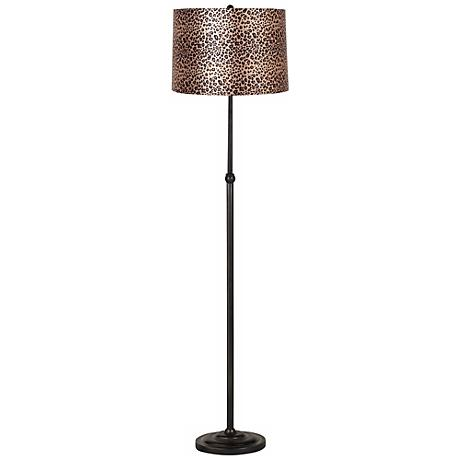 Leopard Print Bronze Adjustable Floor Lamp