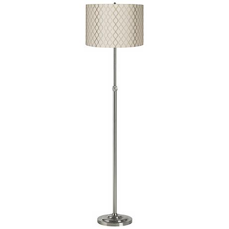Embroidered Hourglass Brushed Steel Adjustable Floor Lamp