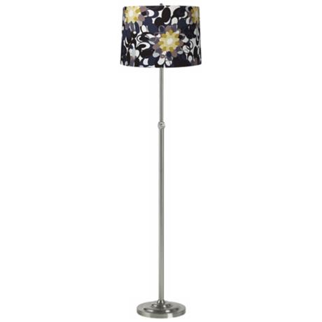 Black and Olive Brushed Steel Adjustable Floor Lamp
