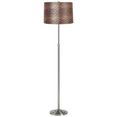 Leopard Print Brushed Steel Adjustable Floor Lamp