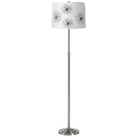 Flower Graphic Brushed Steel Adjustable Floor Lamp
