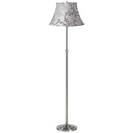 Gray Floral Scroll Brushed Steel Adjustable Floor Lamp