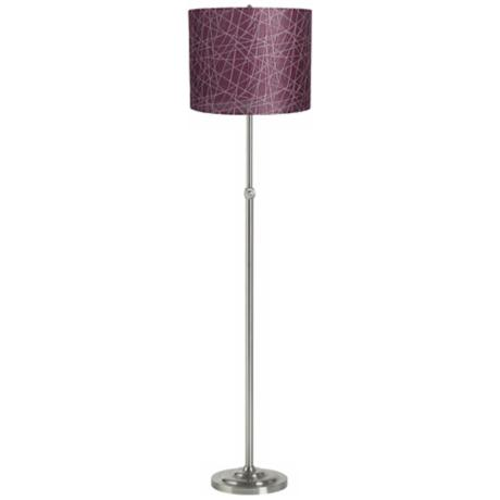 Purple Lines Brushed Steel Adjustable Floor Lamp