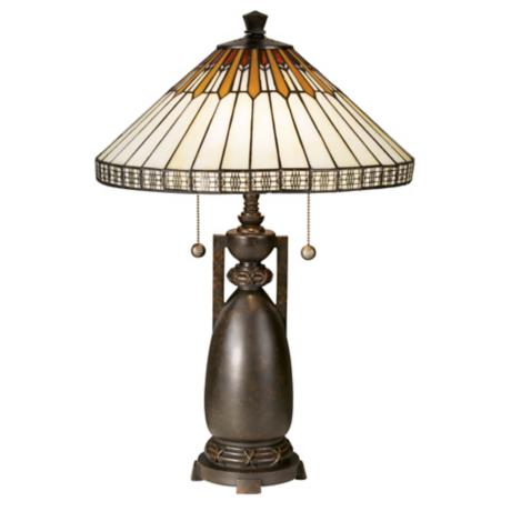 Dale Tiffany Feather And Diamond Art Glass Table Lamp