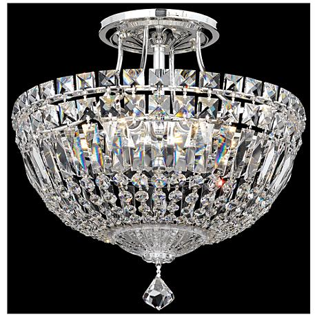 "Schonbek Petit Crystal Deluxe 12"" Wide Silver Ceiling light"