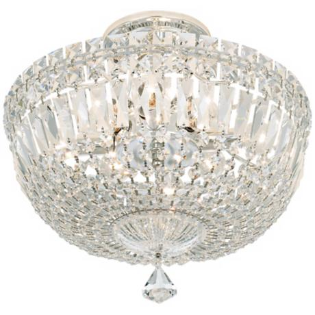 "Schonbek Petite Crystal Silver 13"" High Ceiling Light"