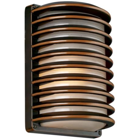 "John Timberland Bronze Grid 10"" High Outdoor Wall Light"