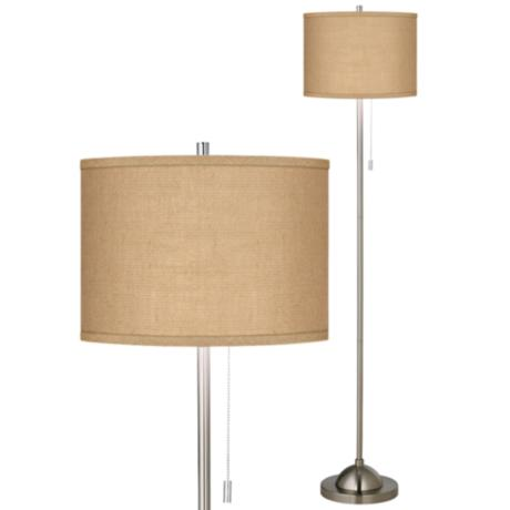 woven burlap brushed nickel pull chain floor lamp 99185 2w555 www. Black Bedroom Furniture Sets. Home Design Ideas