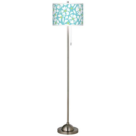 Floral Fun Brushed Nickel Pull Chain Floor Lamp