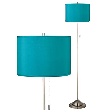 Teal Blue Faux Silk Brushed Nickel Pull Chain Floor Lamp