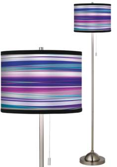 Giclee Purple Neon Brushed Nickel Pull Chain Floor Lamp