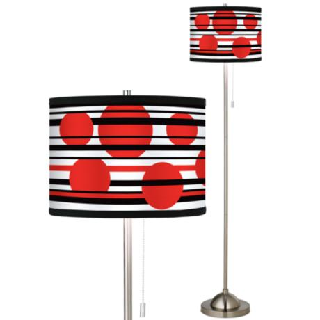 Red Balls Giclee Brushed Nickel Pull Chain Floor Lamp