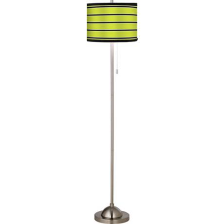 Giclee Bold Lime Brushed Nickel Pull Chain Floor Lamp