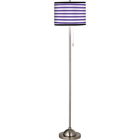 Giclee Purple Stripe Brushed Nickel Pull Chain Floor Lamp