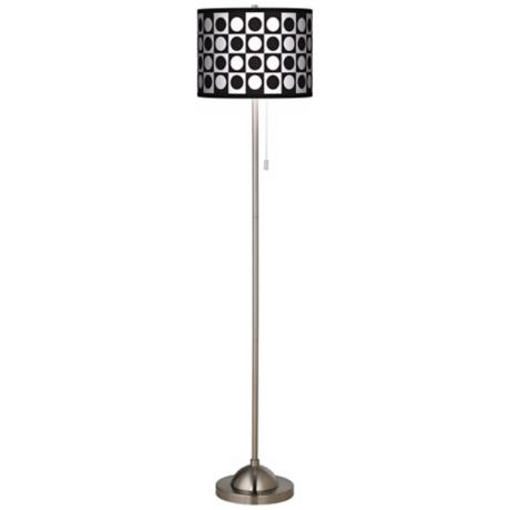 Black - White Dotted Squares Giclee Floor Lamp