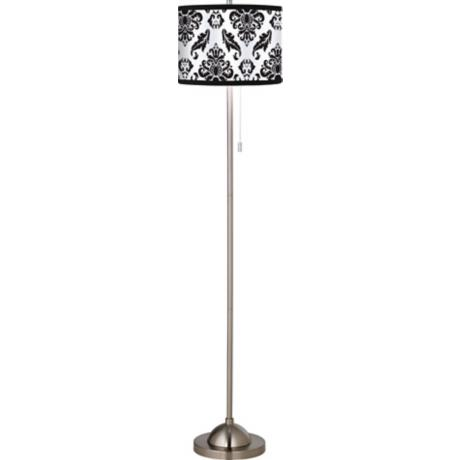 Black Filigree Giclee Floor Lamp