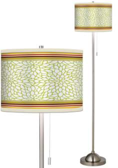 Stacy Garcia Lemongrass Dahlia Brushed Steel Giclee Floor Lamp
