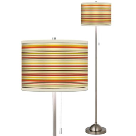 Stacy Garcia Lemongrass Stripe Giclee Brushed Steel Floor Lamp