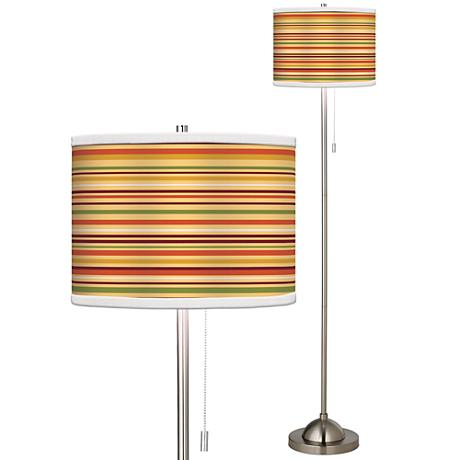 Stacy Garcia Harvest Stripe Giclee Brushed Steel Floor Lamp