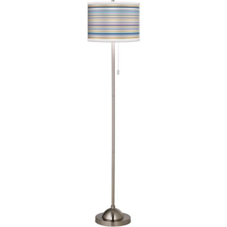 Stacy Garcia Landscape Stripe Giclee Brushed Steel Floor Lamp